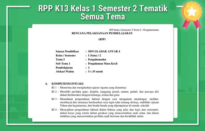 RPP K13 Kelas 1 Semester 2 Tematik Semua Tema