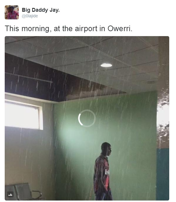 Heavy rainfall pouring into Owerri Airport due to leaking roof