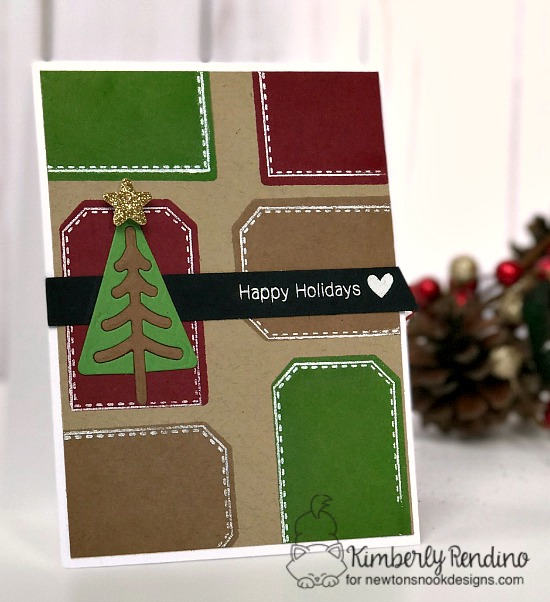 Happy Holidays Card by Kimberly Rendino | Tags Times Two stamp set and Festive Forest Die Set by Newton's Nook Designs #newtonsnook