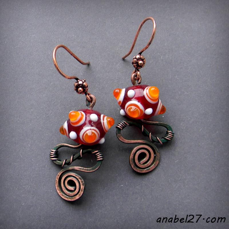 Медные серьги - 239-241 - copper earrings handmade