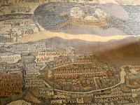 Jordania; Jordan; الأردنّ; Al-'Urdunn; Jordanie; Madaba; مادبا; Medeba; Mosaico; Mapa de Jerusalén y Tierra Santa; Iglesia de San Jorge