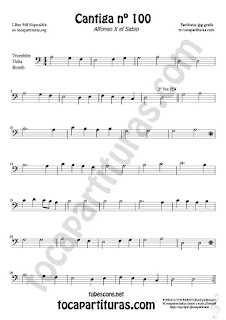 Trombone, Tube and Euphonium Sheet Music for Cantiga de Amigo Nº 100 de Alfonso X El Sabio Classical Music Scores