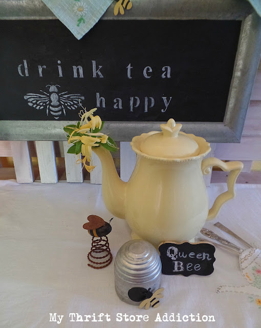 thrifted Marjolein Bastin teapot vignette