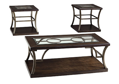 Glass-topped coffee table and end tables