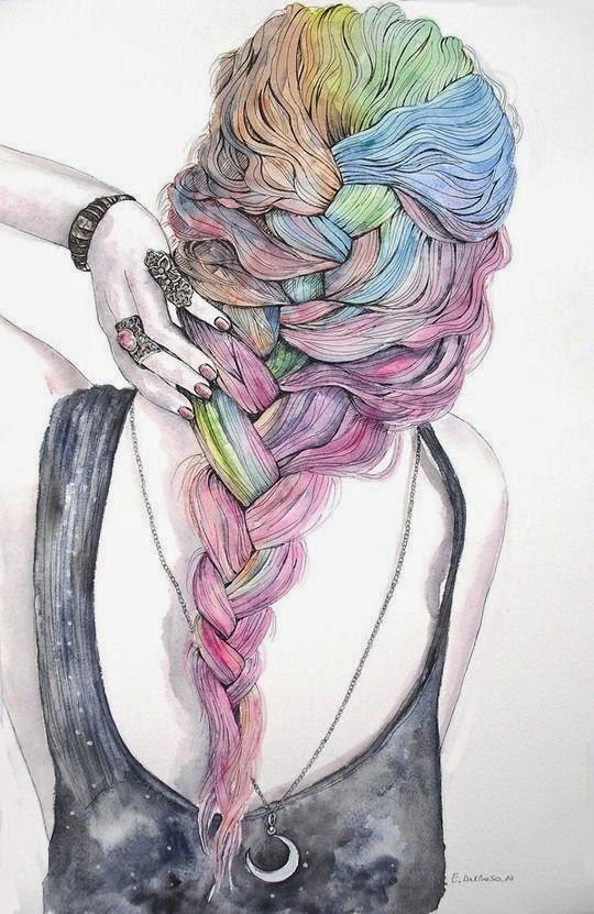 cabello de colores de mujer en acuarela