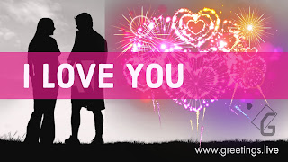 I love you. Beautiful love greetings with Sparkling Love symbols.