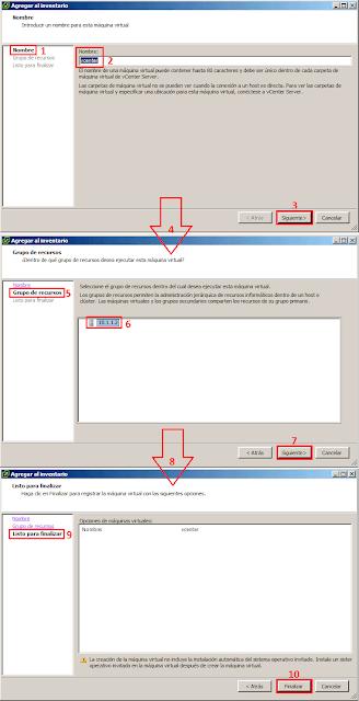 VMware: Asistente para agregar una nueva máquina virtual al inventario.