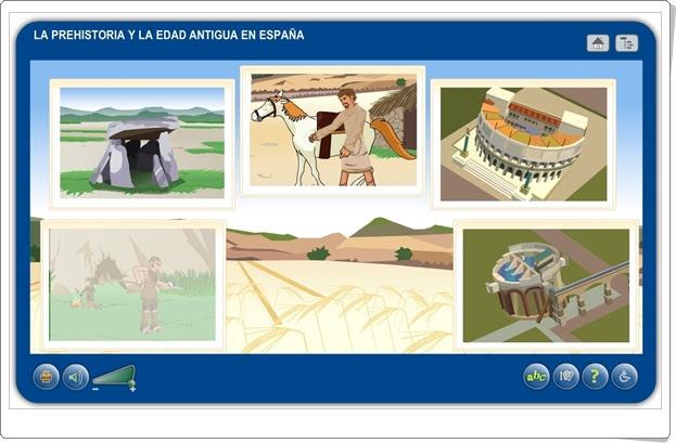 """""""La Prehistoria y la Edad Antigua en España"""" (Aplicación interactiva de Historia de Primaria)"""