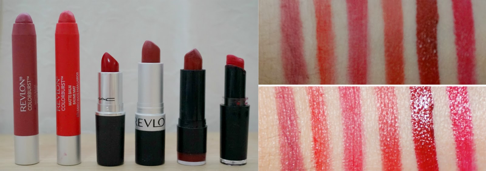 Revlon Sultry, Revlon Striking, MAC Ruby Woo, Revlon In the Red, NYX Snow White, Wet n Wild Stoplight Red