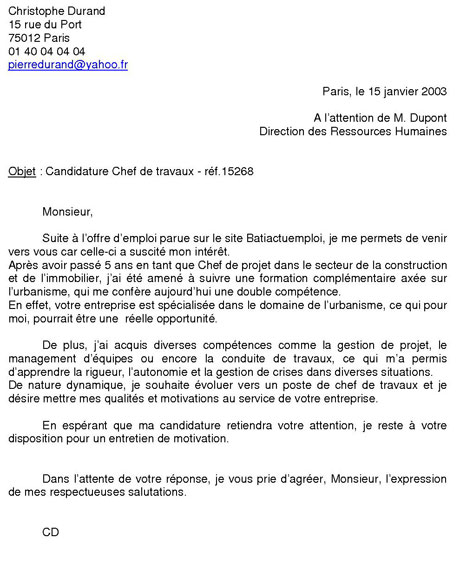 lettre de motivation etude