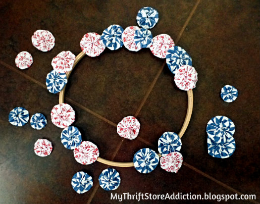 Red, White and Blue Yo-yo Wreath