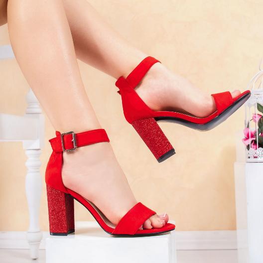 Sandale rosii cu gliter si toc gros de ocazii elegante