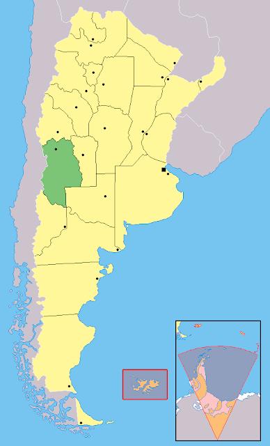 Mapa de localização da província de Mendoza - Argentina