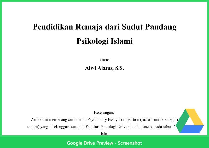 Contoh Makalah Agama Tentang Psikologi Islam Pendidikan Remaja