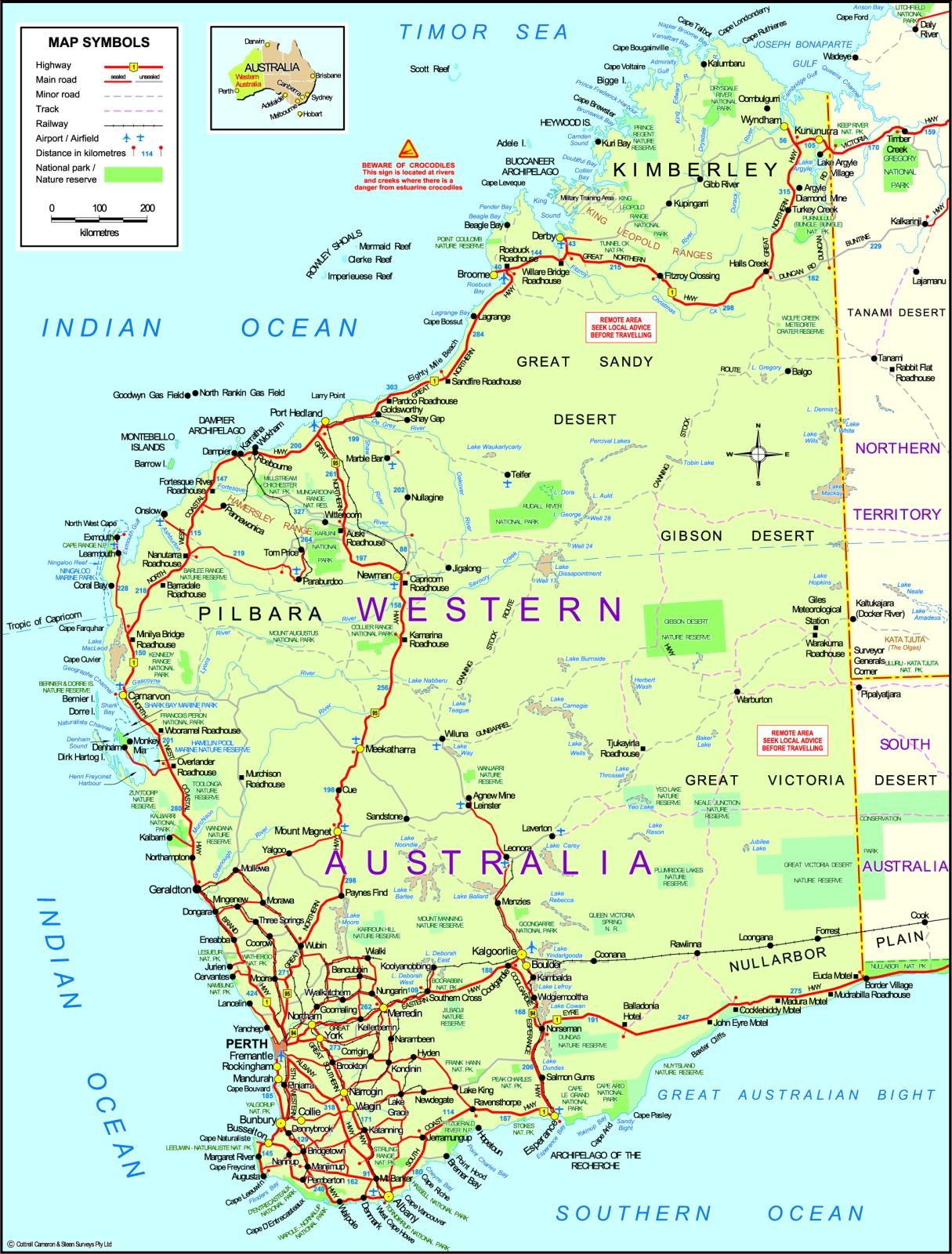 map wa australia