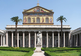 The façade of the reconstructed Basilica pictured today