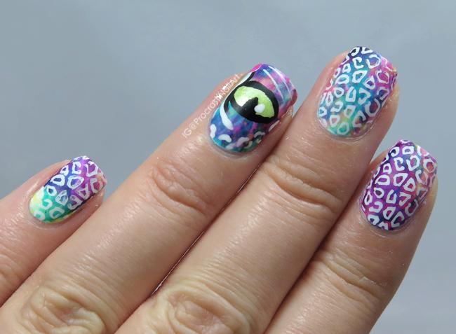 Rainbow Lisa Frank Leopard Nail Art