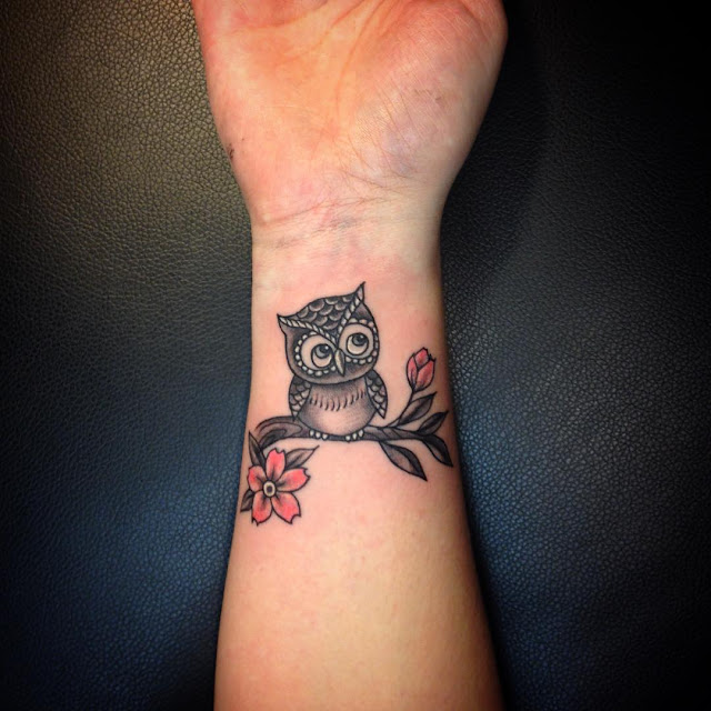 Cute Owl Tattoo on Wrist