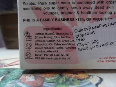 Pink grapefruit a sugar peeling zloženie