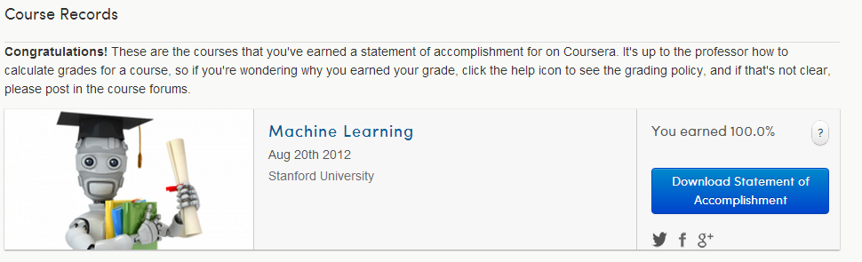 DeveloperStation ORG: Machine Learning on Coursera