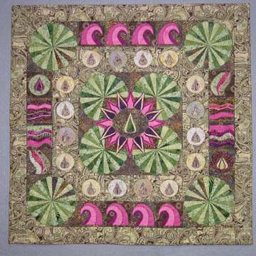 Water Lily Medallion wall quilt photo, entry in the 2009 Hoffman Challenge