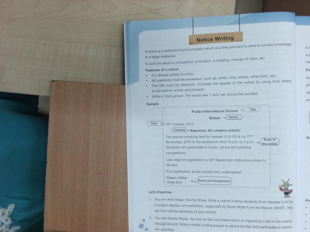 Pis Vadodara Std 7 Notice Writting