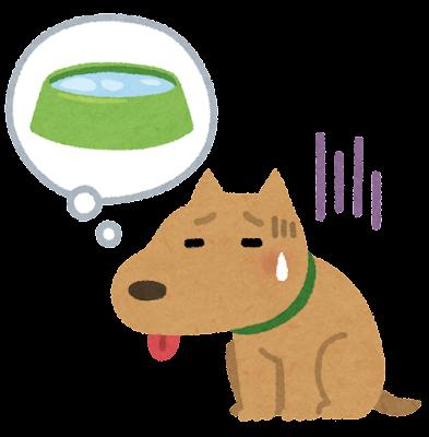 喉が渇いた犬のイラスト