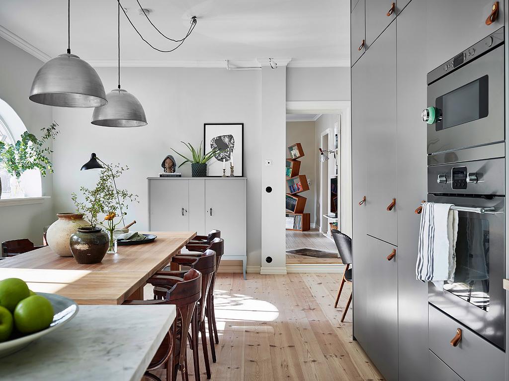 scandinavian design, kitchen styling, interior design gray furniture, mid century lamp,