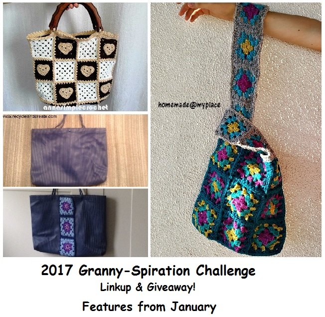Granny-Spiration Challenge 2017, February, crochet, linkup, giveaway, bags
