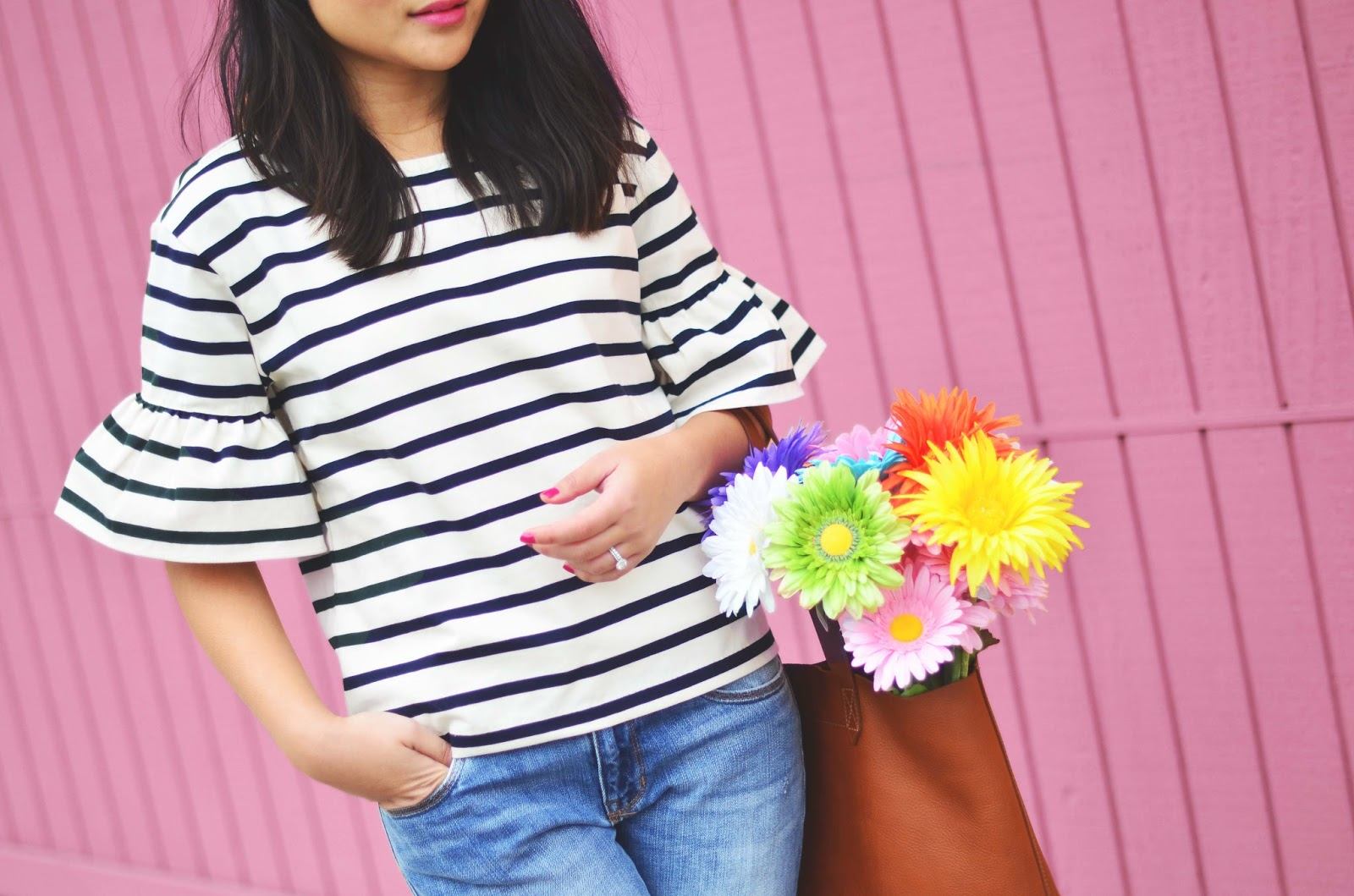 bell sleeve stripe shirt boyfriend jeans spring outfit madewell tote
