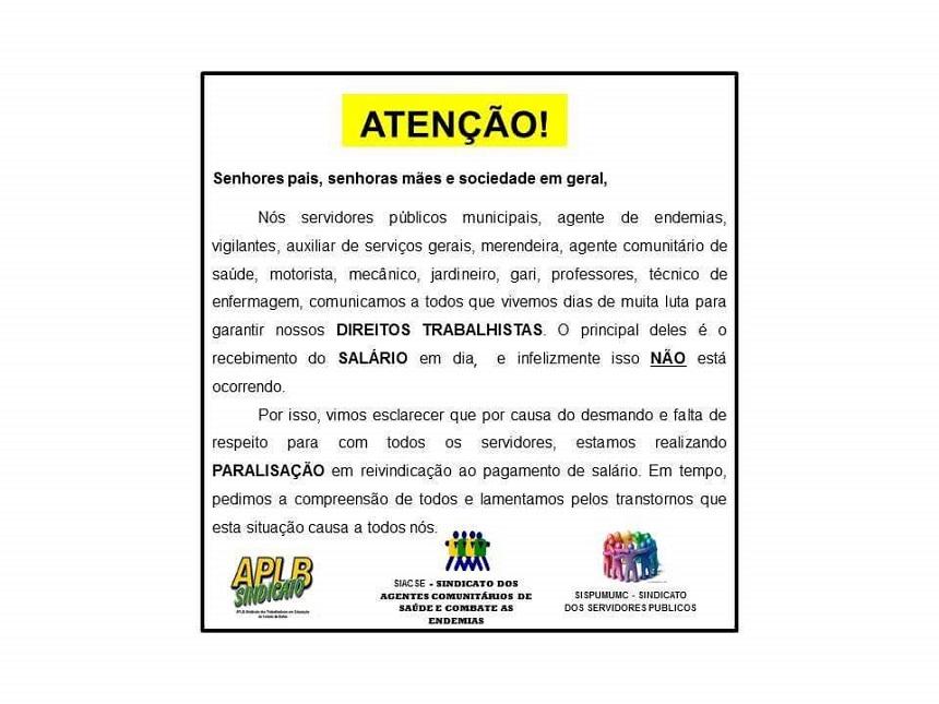 NOTA DE ESCLARECIMENTO:Sindicatos dos Servidores Públicos de Morro do Chapéu