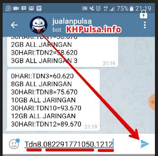 Admin KHPulsa.info akan memberikan contoh anda akan mengisi paket data telkomsel nasional yang 8GB maka caranya adalah. Ketik TDN8.Nomor HP.PIN. contoh TDN8.085200000285.1212 lalau kirim ke center.