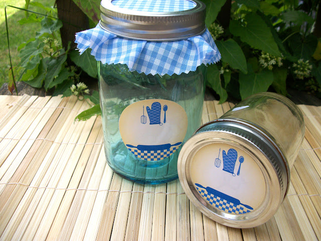 blue gingham kitchen canning labels