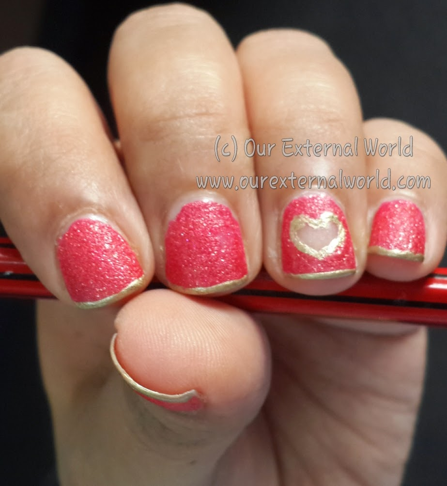 Cut Out Heart Nail Art Using Maybelline Glitter Mania Red Carpet - Tutorial