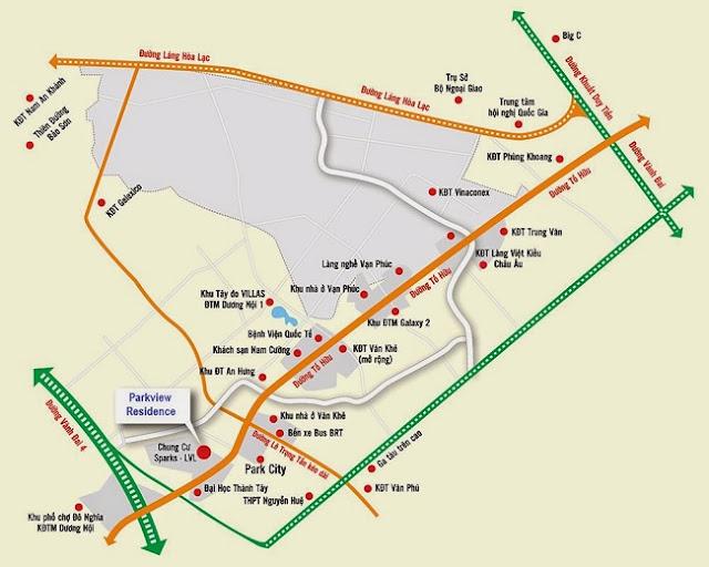 Vị trí Chung cư ParkView Residence Dương Nội Hà Đông
