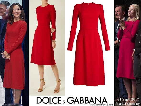 Crown Princess Mary and Crown Princess Mette Marit wore same DOLCE & GABBANA Contrast stitch cady dress
