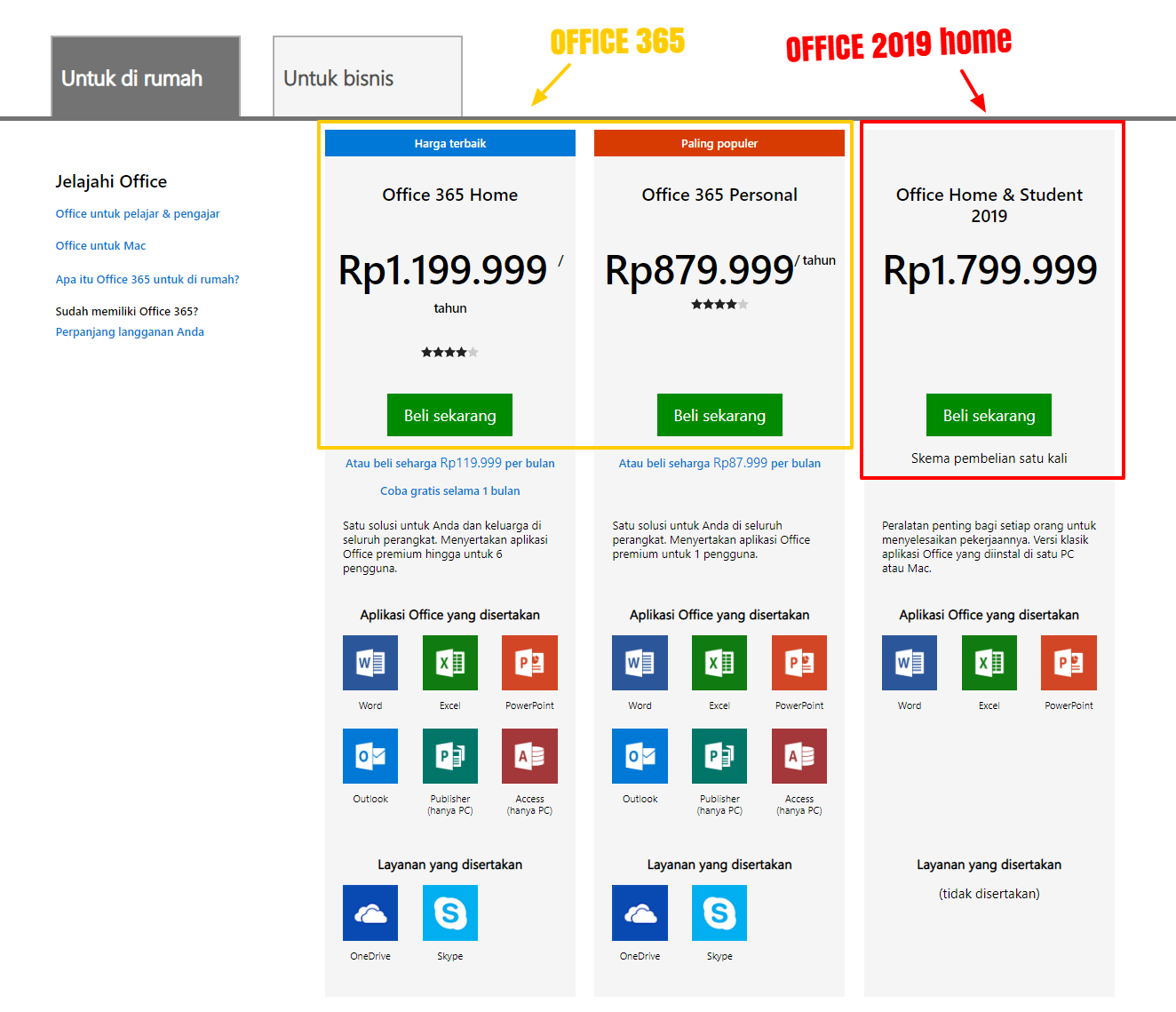 perbandingan harga office 365 dan office home 2019