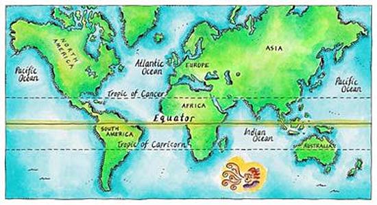 Mapa com linha do equador
