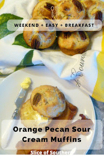 Orange Pecan Sour Cream Muffins:  Make your weekend breakfast special by making a bakery style treat that's bursting with orange flavor and a bit of crunch from good ole southern pecans. - Slice of Southern