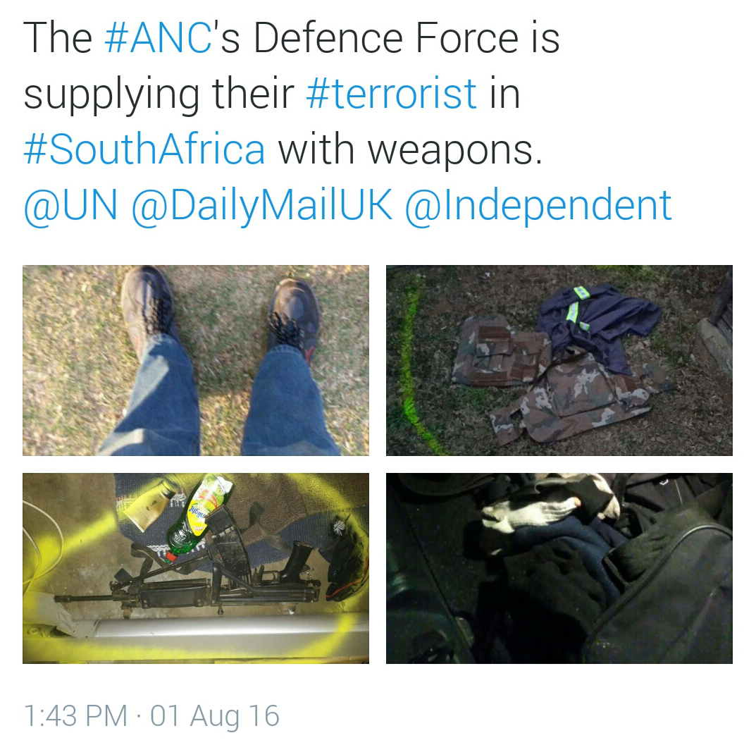 The #ANC's Defence Force is supplying their #terrorist in #SouthAfrica with weapons