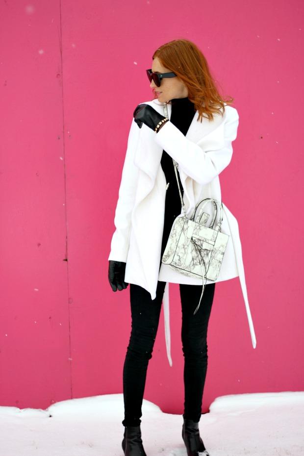 Rebecca Minkoff marble bag, Celine sunglasses, black and white
