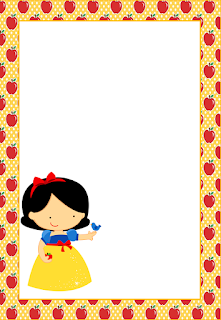 Marcos, Invitaciones, Tarjetas o Etiquetas de Blancanieves para Imprimir Gratis.