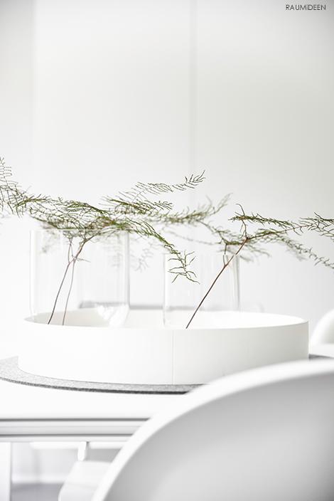 Minimalistische Dekoration mit Korallfarn.