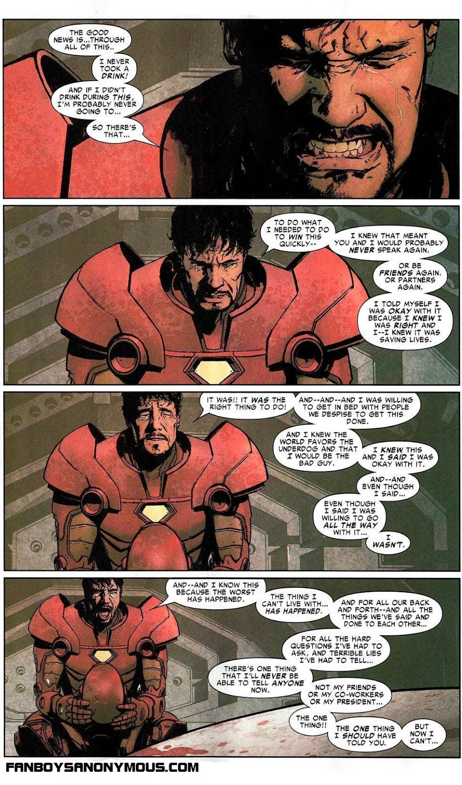 Iron Man Tony Stark confesses his guilt after the assassination of Captain America