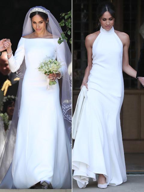 La Duquesa el día de su boda con los dos vestidos