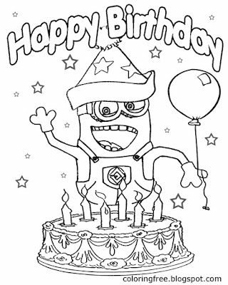 Big Party Cake With Candles Happy Birthday Minion Coloring Pages For Girls Celebration Activities