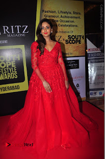Actress Model Parul Yadav Stills in Red Long Dress at South Scope Lifestyle Awards 2016 Red Carpet  0090.JPG