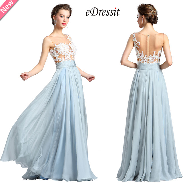 White & Blue Floral Lace Fashion Evening Dress