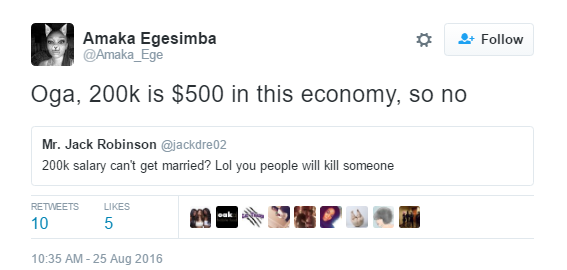 Wait, a man who earns 200k per month shouldn't start a family? Nigerian Twitter users share opinions