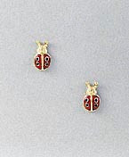 Ladybug Earrings Post with Enamel
